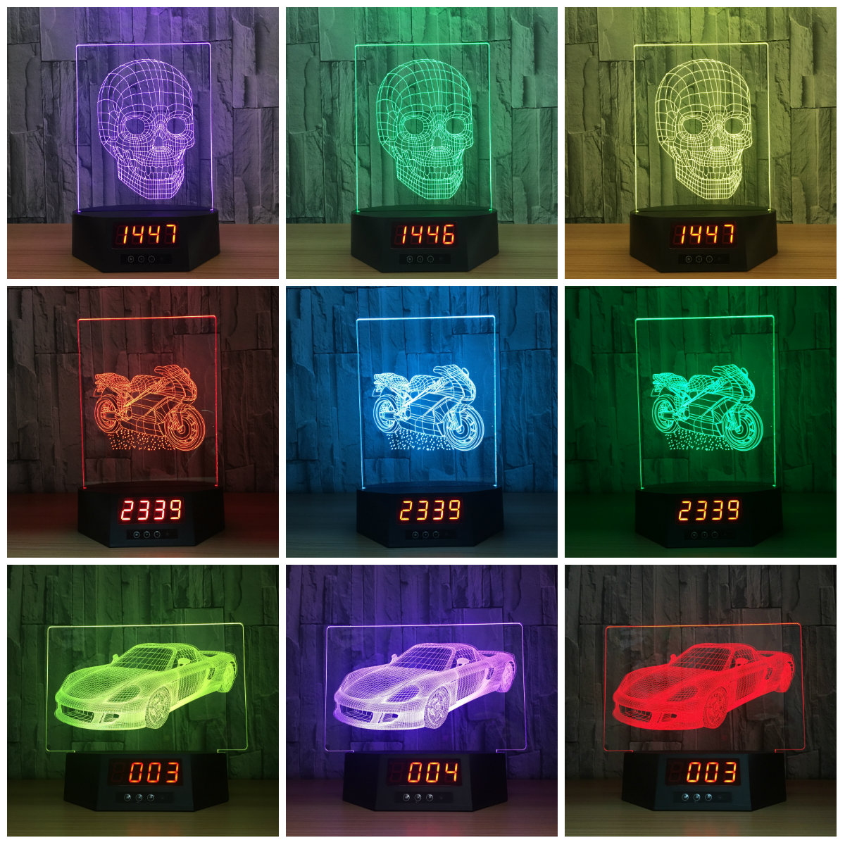 Skull 3D Visual Lamp Clock Date Lamp Transparent Acrylic Night Light LED Fairy Lampa Color Changing Touch Table LightingIY803991 3d visual shark 7 color changing touch led table night light