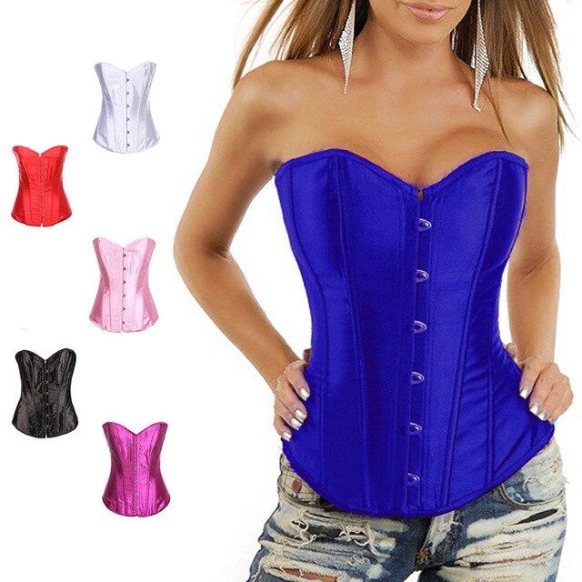 ed773993005 Body Shaper Woman Sexy Waist Train overbust Corsets   Bustiers Black Satin corset  Waist Cincher Corselet