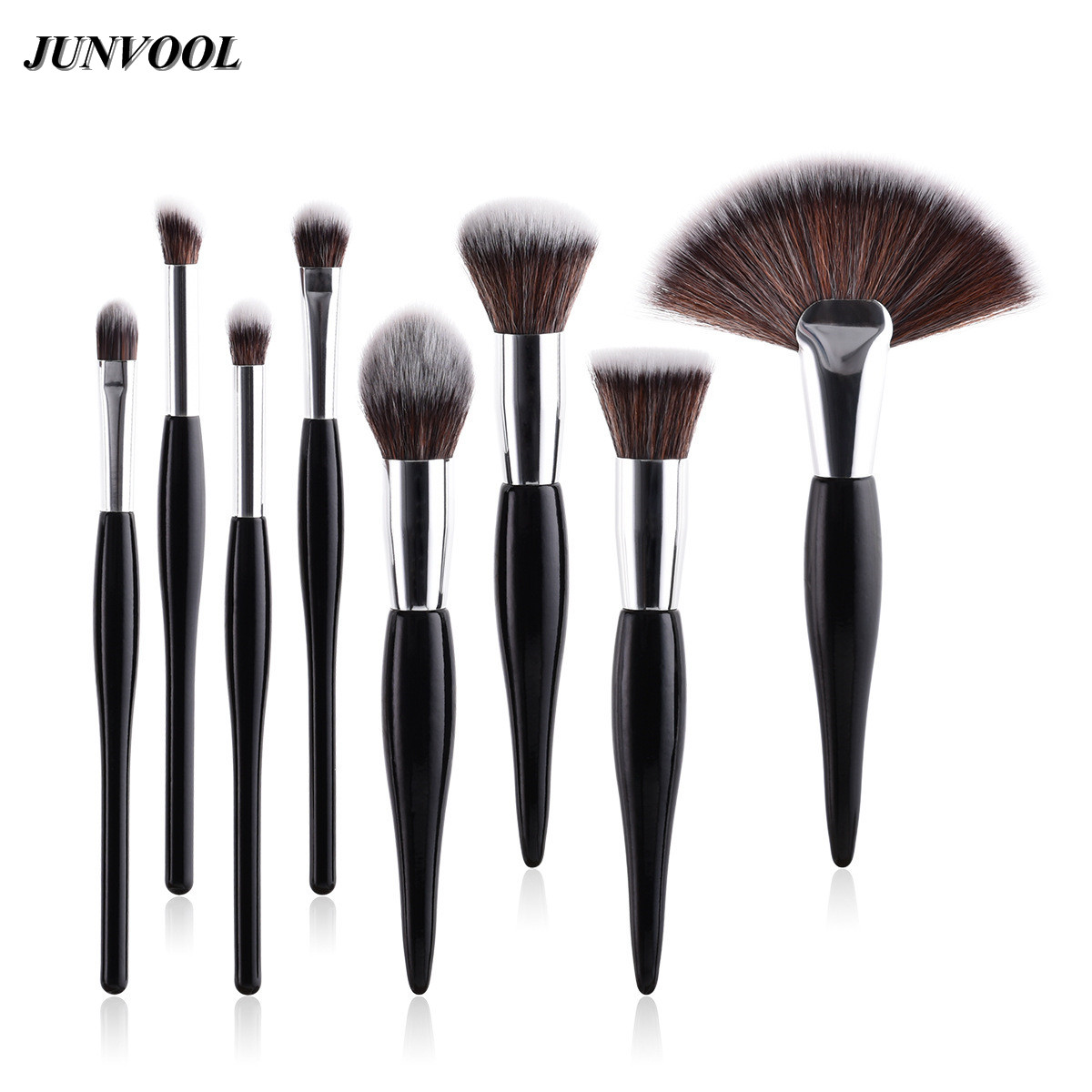 8Pcs/Set Professional Flame Makeup Brushes Black Silver Handle Concealer Eye Shadow Eyebrow Make Up Large Brush Cosmetic Tools shadow of the flame