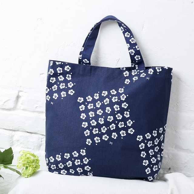 dark blue women s cotton fashion flower printing handbags light portable  eco friendly fabric shopping tote bags