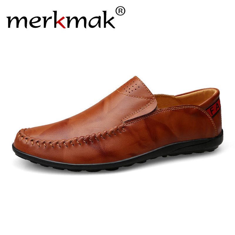 Merkmak Plus Size 46 47 Genuine Leather Men Loafers Comfortable Summer Casual Shoes Men Driving Shoes Trample Heel Mocassins akexiya men shoes 2017 new genuine leather fashion men casual shoes men plus size 45 46 47 48 dropshipping