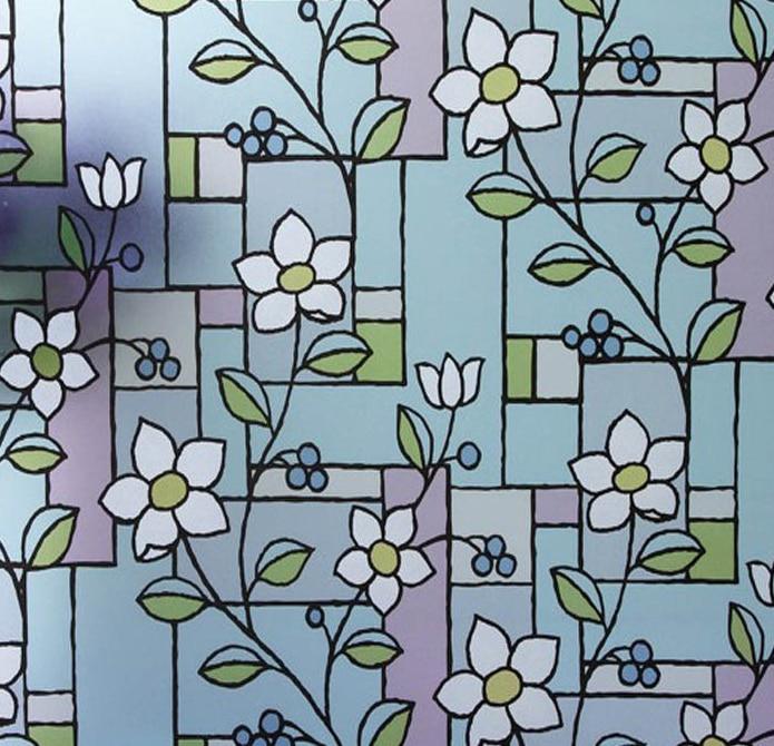 Samolepící dekorativní matná okna do soukromí pro záchodovou koupelnu ne vykukující Borůvkový květ Šířka 60cm