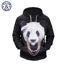 Mr.BaoLong Men/Women 3D Sweatshirts Print Cool Panda In Headscarf and Necklace Hoodies Autumn Winter Thin Hooded Pullovers Tops(China)