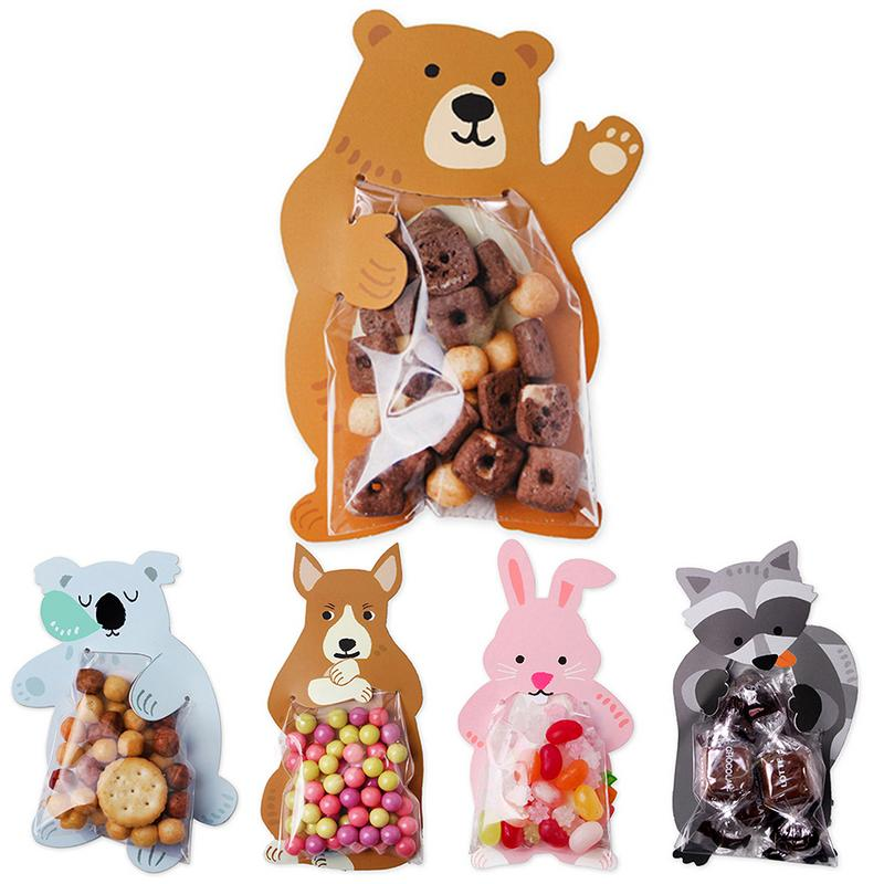 10pcs/lot Cute Animal Bear Rabbit Koala Candy Bag Greeting Card Cookie Bag Gift Bag Baby Shower Birthday Party Decora Candy Bag