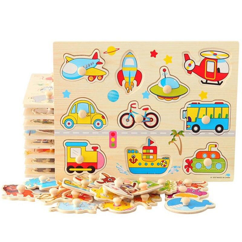 Materiales Montessori Sensorial vehículos rompecabezas con perillas Montessori educativos juguetes de madera para niños Aprendizaje Temprano UD0364H