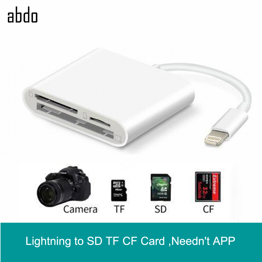 Lightning To SD TF CF Card Digital Camera Reader Adapter For Apple IPhone XR XS Max 8/7 Compatible OTG Data Cable Needn't APP