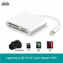 купить Lightning to SD TF CF Card Digital Camera Reader Adapter For Apple iPhone XR XS Max 8/7 Compatible OTG Data Cable Needn't APP дешево