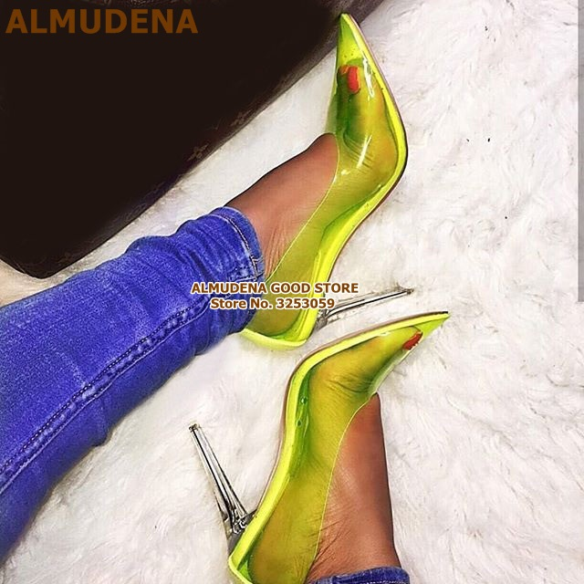 ALMUDENA Young Girls Candy Color PVC Clear Heel Dress Pumps Stiletto Heels Neon Yellow Transparent Pointed Toe Dress Shoes Pumps