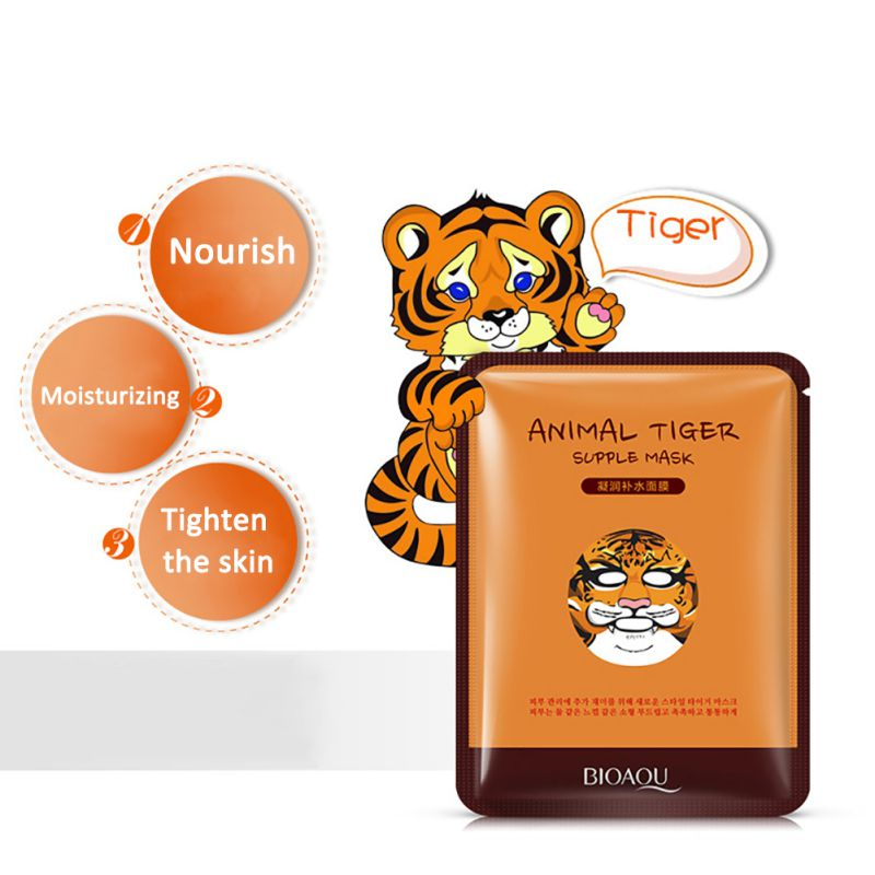 US $1 08 27% OFF|2017 BIOAQUA Brand Hot Tiger Panda Pattern Funny Animal  Face Mask Skin Care Moisturizing Nourishing Cosmetics 30g-in Treatments &