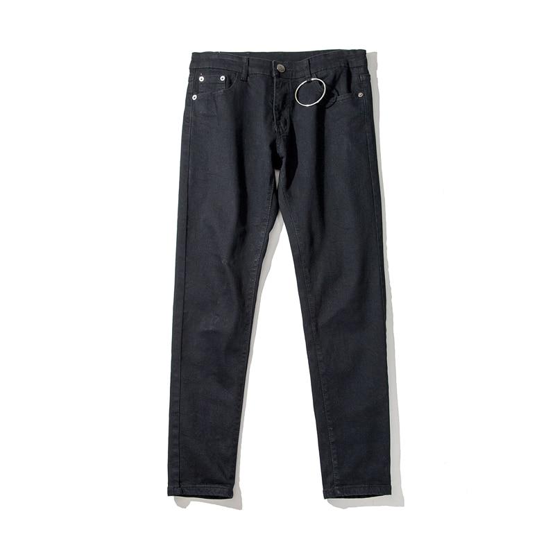 2019 Men's Metal Ring Buckle Decorative Jeans Suit Pants Fashion Trousers Black SKINNY Casual Pants S-2XL
