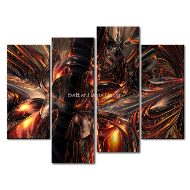 3 Piece Wall Art Painting Melting Metal Picture Print On Canvas ...