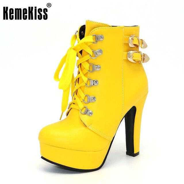 Kemekiss зимние женские ботильоны с круглым носком Ботильоны на шнурках на высоких каблуках на платформе с двойной пряжкой короткие ботинки Martin пинетки Размеры 33-43