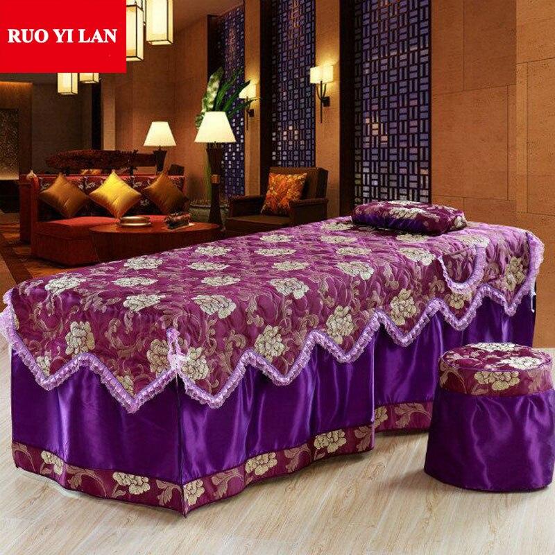 Une pièce Jacquard beauté lit jupe 70*190 cm Salon de beauté couvre-lit avec trou taille personnalisée rouge jaune café rose violet