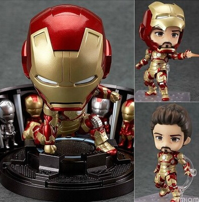 NEW hot 10cm Q version Iron man 3 MK42 movable avengers Super hero action figure toys collection christmas toy doll with box 2017 new avengers super hero iron man hulk toys with led light pvc action figure model toys kids halloween gift
