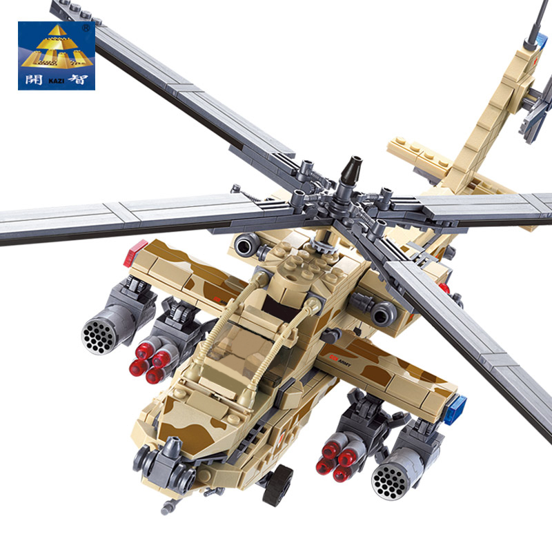 Kazi 84020 Ah-64 Apache 658pcs Military Army Aircraft Helicopter Model Lepin Compatible Blocks Kids Educational Toys military modern wars diecast boeing ah 64 apache helicopter gunships can shoot alloy pull back toy with light
