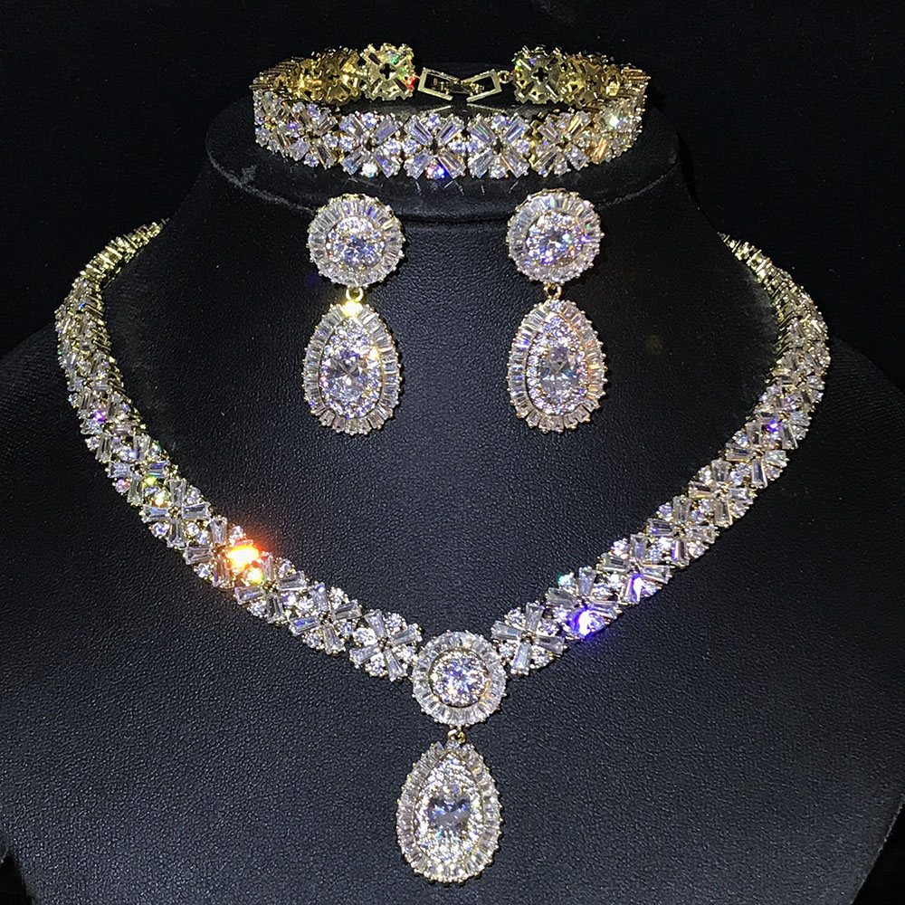 NEW Exclusive Dubai Gold Color Jewellery Luxury Cubic Zirconia Necklace Earring Bracelet Party Jewelry Set For Women