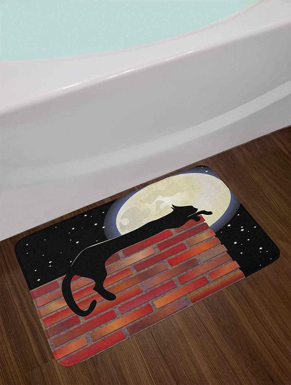 Luna Bagno Zerbino Gatto Porta di Piano Zerbino Silhouette di Riposo su un Muro di Mattoni in una Notte Stellata Luna Piena Immagini peluche Bagno Zerbino Nero