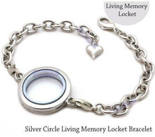 Floating locket Bracelet 30mm 25mm Silver Plain round Circle Living Memory Locket Crystal Pendant For Floating Charms