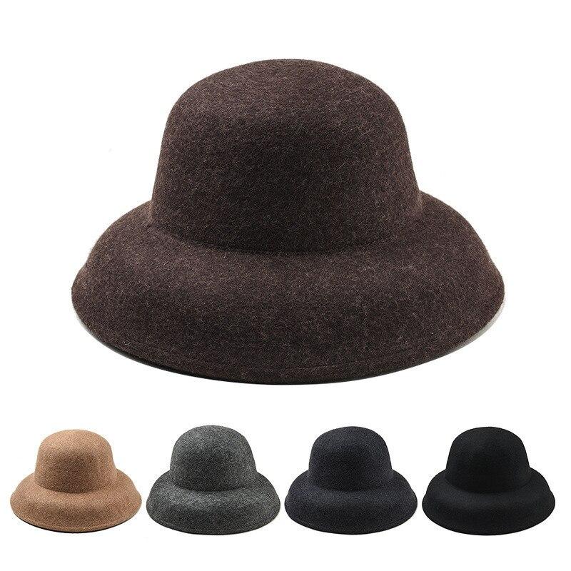 5f7672a82e11c8 5 ชิ้น/ล็อต 01808-YJ139 ฤดูหนาวขนสัตว์นุ่ม Hepburn  สไตล์ย้อนยุคเรียบหรูผู้หญิงหมวกผู้หญิง fedoras หมวกขายส่ง ~ Hot Sale July  2019