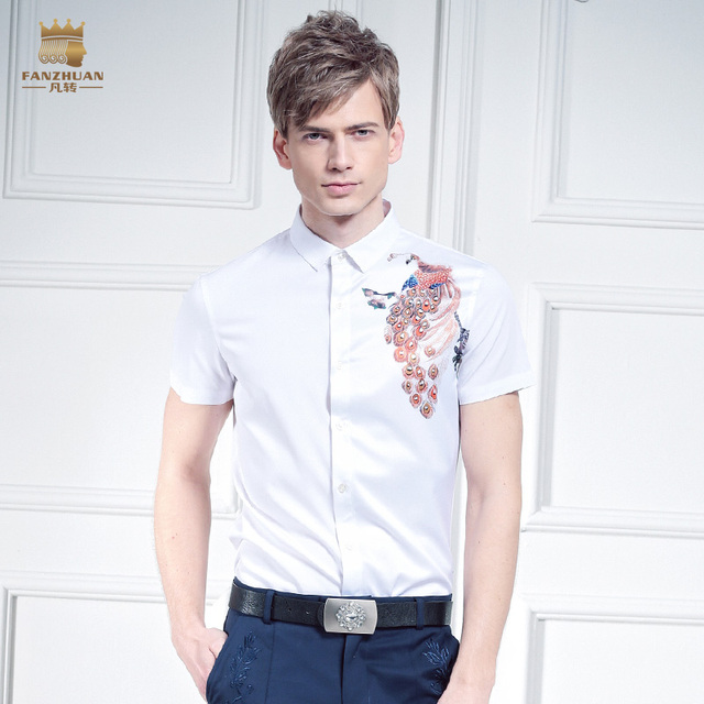 Free shipping New male Summer casual fashion Men's all-match white shirt chest peacock print color shirt On Sale