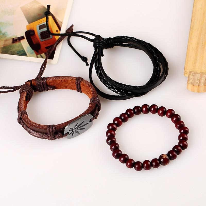 Jamaica Leather and Beads Bracelet Set Bangles & Bracelets