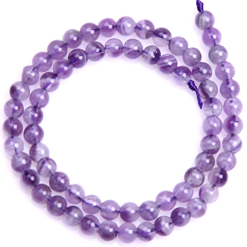 Круглые бусины фиолетового кружевного аметиста, незакрепленные бусины из натурального камня для изготовления ювелирных украшений, нитка 15 дюймов - Цвет: 6mm