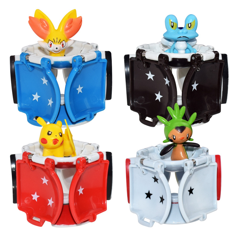 TAKARA TOMY Pokemon Figura Anime Pikachu Chespin Fennekin Froakie Figures With Pokeball Action Figure Kids Toy Gifts 7CM