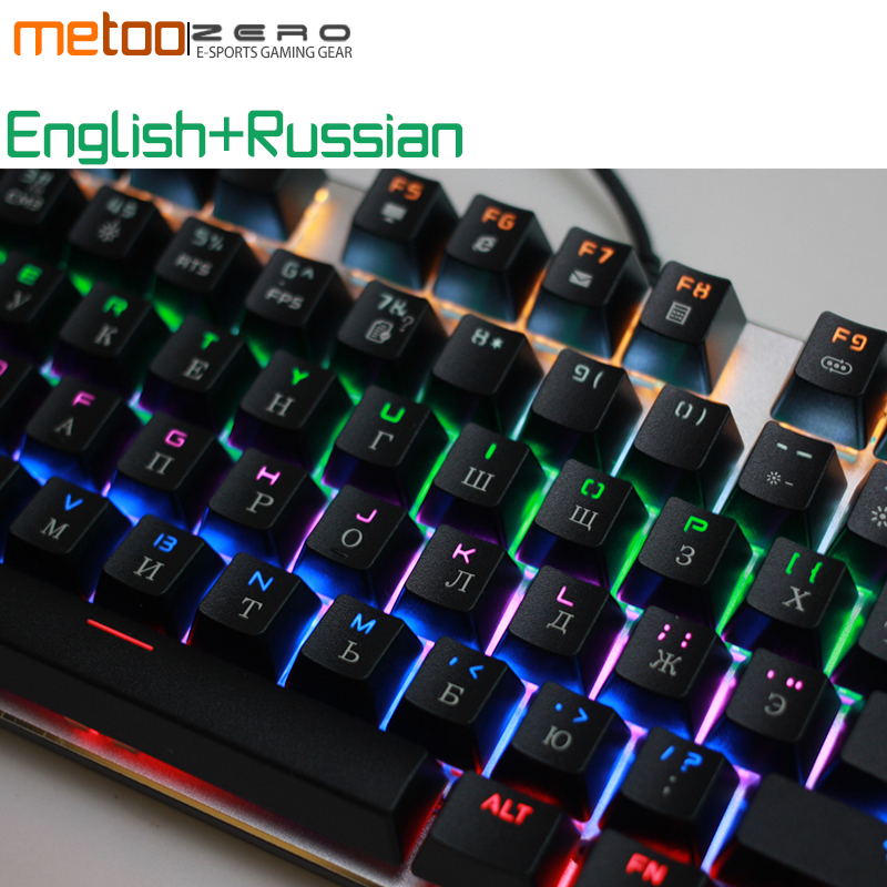 цена на New metoo Colorful Backlights Anti-ghosting 104 Keys Gaming Keyboard USB Wired Mechanical Blue / Red / Black Switch for PC, Mac