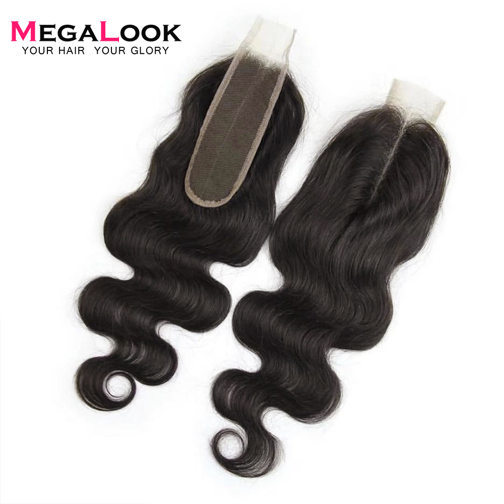 Megalook Human-Hair Closure Kim K Natural-Color 2X6 Brazilian Body-Wave Middle-Part Remy
