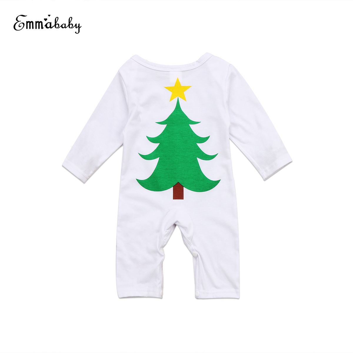 Cute Newborn Baby Girl Boy Romper 2017 New Christmas Tree Romper Long Sleeve Brief Casual Jumpsuit Set Clothes 2pcs set baby clothes set boy