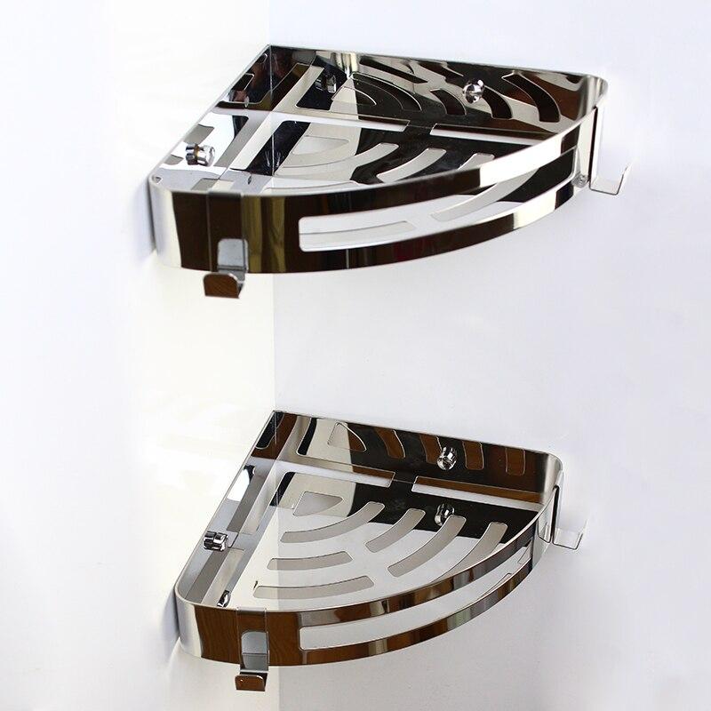 Xogolo Нержавеющаясталь sus 304 три яруса настенный Ванная комната угловая полка с Крючки крепкий Аксессуары для ванной комнаты