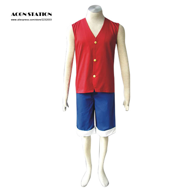 Free Shipping One Piece Luffy Adult Kid Cosplay Costume Halloween Monkey D Luffy Cosplay Uniform Red Green Christmas Uniform