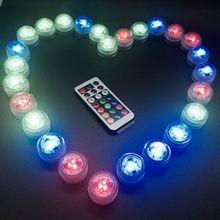Waterproof Round Candle Light Small Replaceable Battery Colorful Diving Light led candle light remote control light night light waterproof colorful led cube night light vc a300