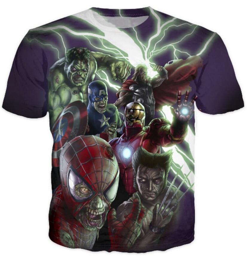Marvel Zombies The Avengers Crewneck t shirt Women Men Spider-Man Iron Man Hulk Cartoon Character T-Shirt Summer style Tops Tees