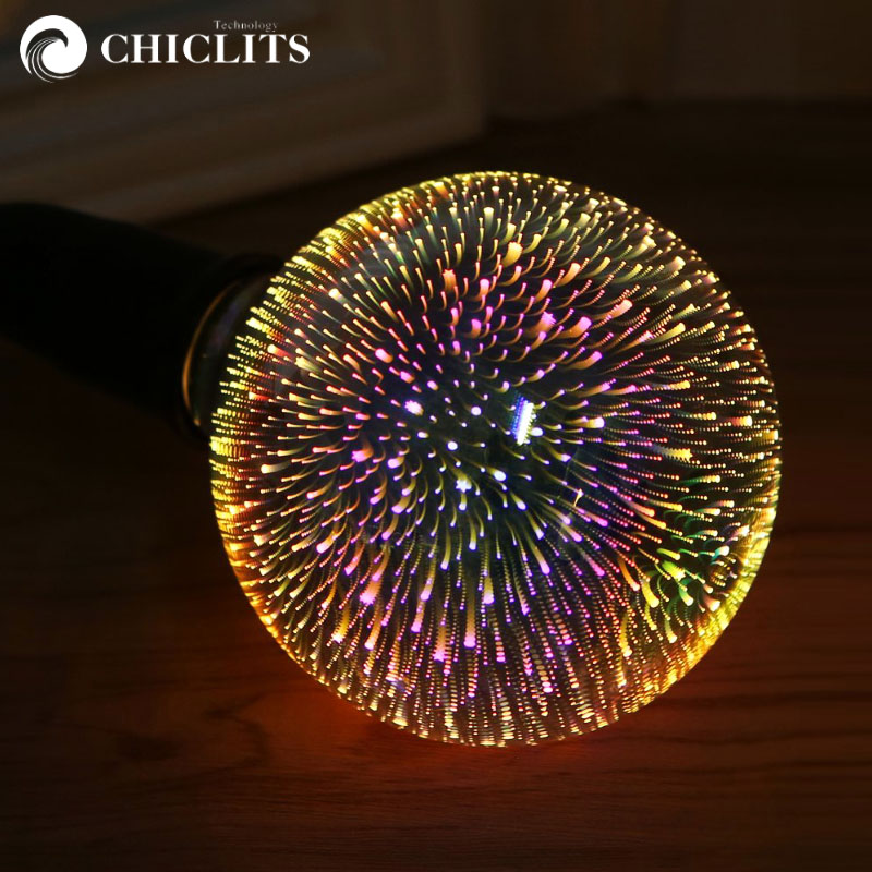Chiclits LED Bulb E27 220v 3W 3D Colourful Fireworks Light Bulbs Decoration Novelty Lamp A60 ST64 G95Holiday Home Party Wedding