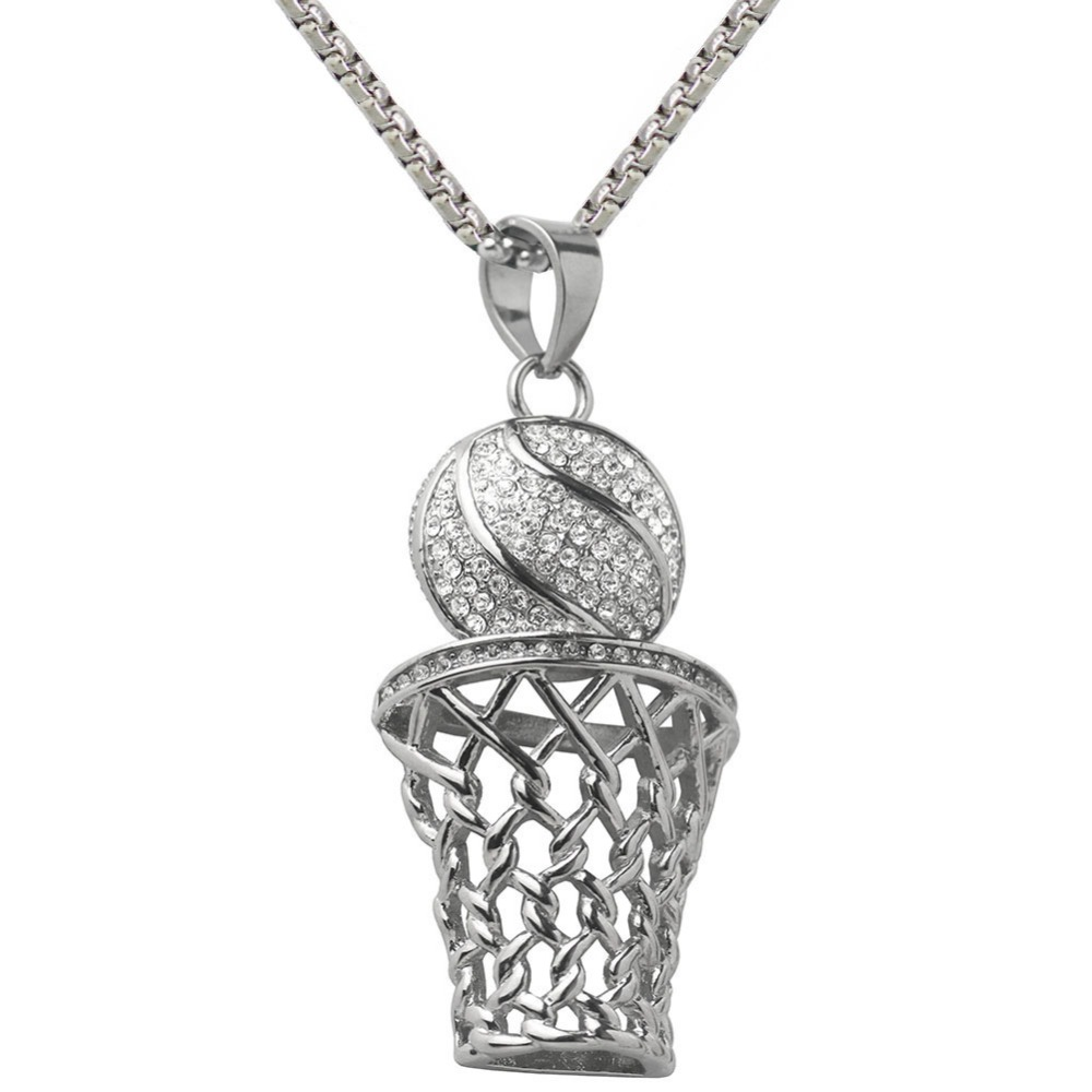 Basketball Hoop Pendant Long Chain Necklace Fashion Sport Fitness Jewelry For Women Valentines Day Male Dropshipping 2018 New