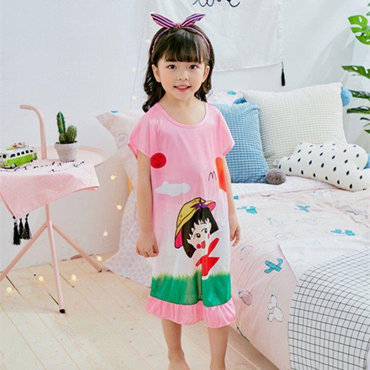 Girl Home Cloth 3-12Y New 2018 Summer Style Girl Nightgowns Dress Children Cloth Girls Sleepwear Kids Girls Princess Sleepshirt