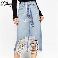 New Arrival 2016 Autumn Women Fashion Women Europen Casual Style Blue Solid Hole Skirt Tie Empire