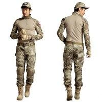 Ghillie táctico Caza Rana ropa CAMO paintball Pantalones + camisa ejército combate Militar uniforme con coderas desmontables