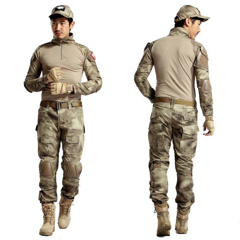 Tactical Ghillie Suit Hunting Frog Clothing Camo Paintball Pants + Shirt Army Combat Military Uniform With Detachable Elbow Pads