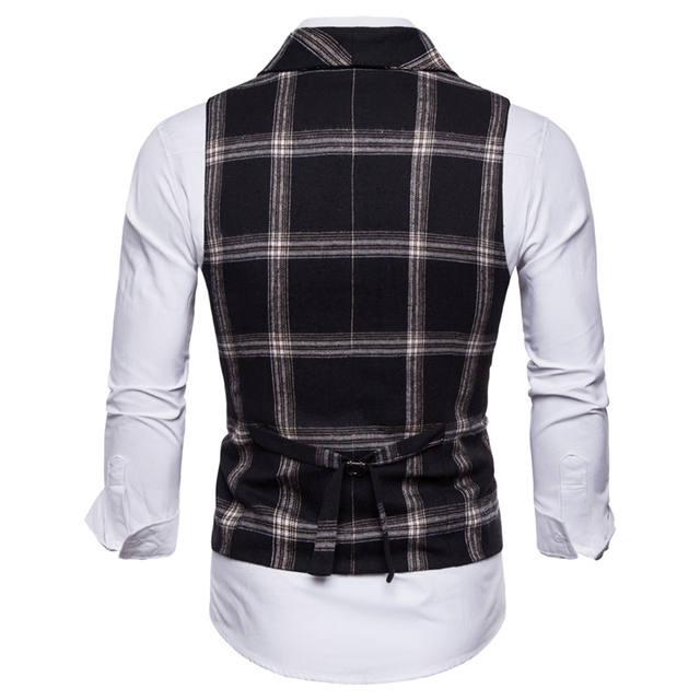FFXZSJ New Classic Plaid Suit Vest Men Slim Fit Double Breasted Vest Waistcoat Mens Business Wedding Tuxedo Vest Gilet Homme