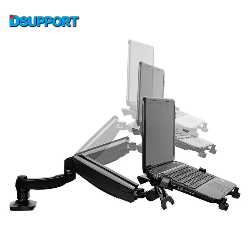 D5F Desktop Full Motion Gas Spring Dual Use 10-15.6inch Laptop Mount Holder + 10-27 inch Monitor Holder Arm Bracket