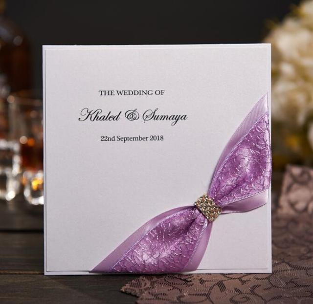 Rustic Lace Wedding Invitations Card With Purple Ribbon Rhinestone Buckle Custom Birthday Cards Free Photo