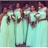 JaneVini Mint Green Bridesmaids Dresses for Women Vestidos De Gasa One Shoulder Elegant Long Bridesmaid Dress Wedding Party 2019