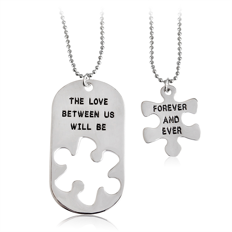 "2pcs ""THE LOVE BETWEEN US WILL BE FOREVER AND EVER"" Letters Carving Pendant Necklaces Special Nice Gift Lovers Couples Jewelry"