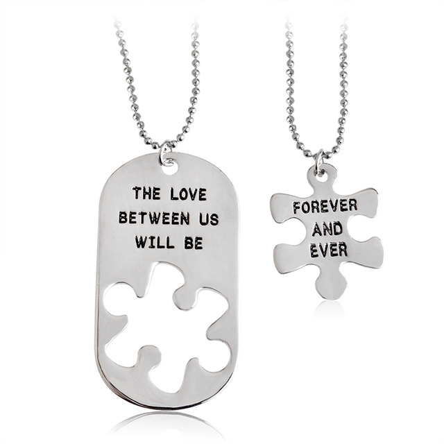 """2pcs """"THE LOVE BETWEEN US WILL BE FOREVER AND EVER"""" Letters Carving Pendant Neck"""
