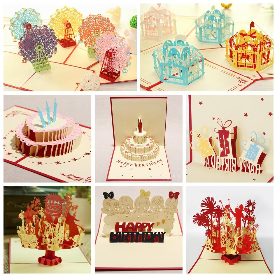 Kirigami 3d Pop Up Card For Kids Birthday Greeting Cards 8pcsset