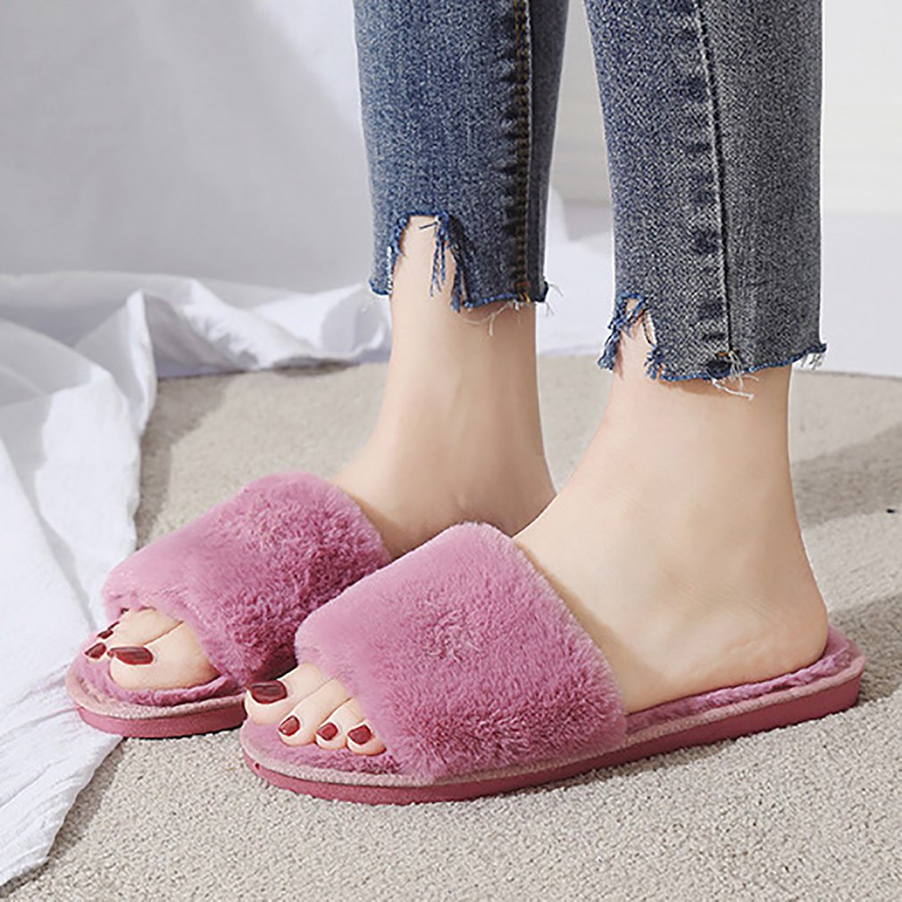 Dropwow Designer Fluffy Fur Women Winter Slippers Female Plush Home Slides  Indoor Casual Shoes caaab6950a36