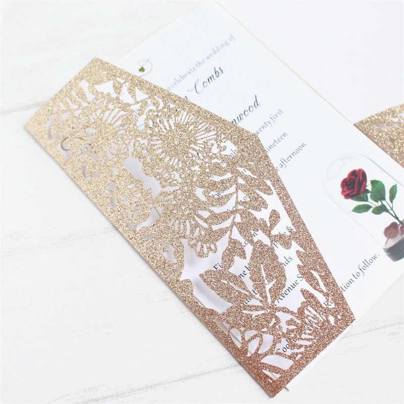 Luxury invite wedding with RSVP envelop belly band tri fold pocketfold wedding decoration customized supply free ship-in Cards & Invitations from Home & Garden    3