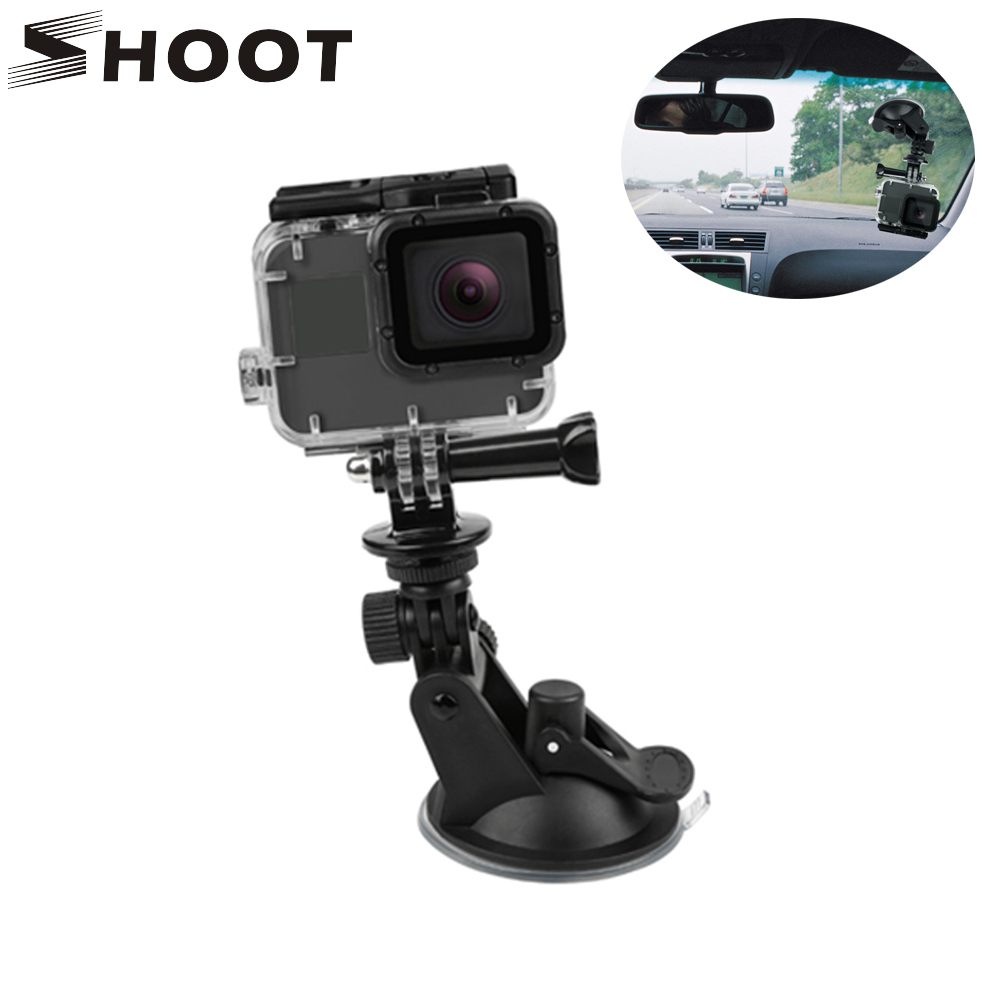 цена SHOOT Mini Action Camera Suction Cup for GoPro Hero 7 5 6 4 Sony SJCAM SJ7 Yi 4K H9 Go Pro 7 Mount Window Glass Sucker Accessory